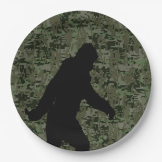 Bigfoot Silhouette on Woodland Digital Camouflage Paper Plate
