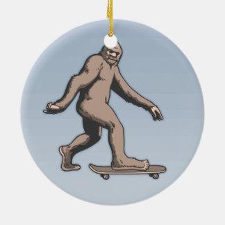 Bigfoot Skateboard Ceramic Ornament