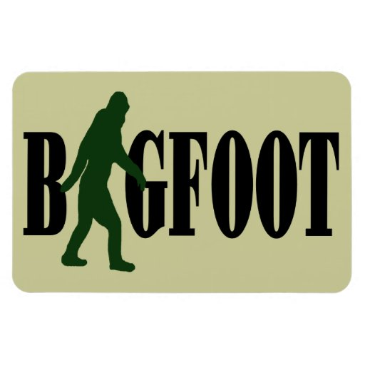 Bigfoot text & green squatch graphic rectangular magnets