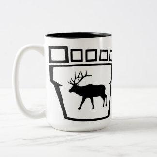 Bigfoot Track with Elk Two-Tone Coffee Mug