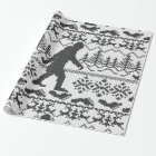 Bigfoot Ugly Christmas Sweater Knit Style Wrapping Paper