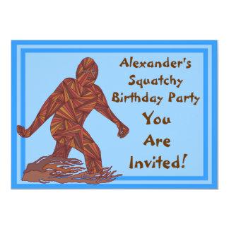 Bigfoot Walking Sasquatch Blue Birthday Party 11 Cm X 16 Cm Invitation Card