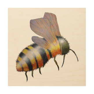Biggie Bee Wood Art Wood Print