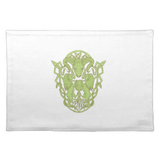 Bighorn Sheep Lion Tree Coat of Arms Celtic Knot Placemat