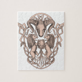 Bighorn Sheep Lion Tree Coat of Arms Celtic Knotwo Jigsaw Puzzle
