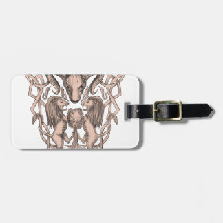 Bighorn Sheep Lion Tree Coat of Arms Celtic Knotwo Luggage Tag