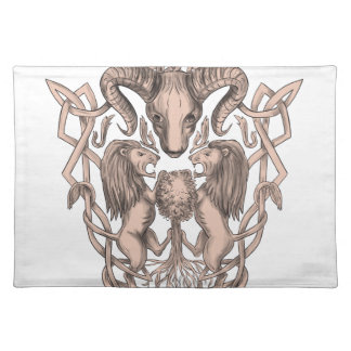 Bighorn Sheep Lion Tree Coat of Arms Celtic Knotwo Placemat