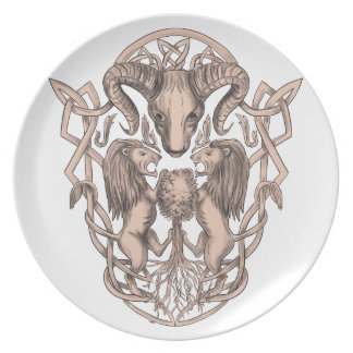 Bighorn Sheep Lion Tree Coat of Arms Celtic Knotwo Plate