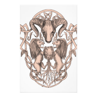 Bighorn Sheep Lion Tree Coat of Arms Celtic Knotwo Stationery