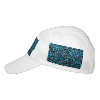 Bight Blue Glittery Floral on Black Hat