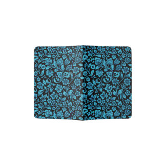 Bight Blue Glittery Floral on Black Passport Holder