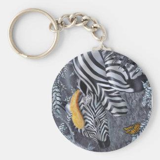 Bijou du nior et blanc basic round button key ring