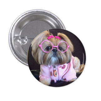 Bijou the fashion diva Shih Tzu 3 Cm Round Badge