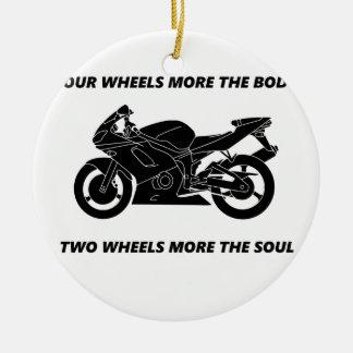 Bike and body soul round ceramic decoration