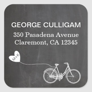 Bike and heart Address Label - wedding postage Square Sticker