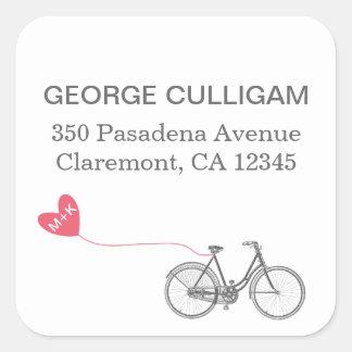 Bike and heart Adress Label - wedding postage Square Sticker