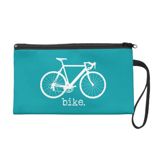 Bike Aqua Blue Minimal Silhouette Typewriter Bag Wristlet Clutch