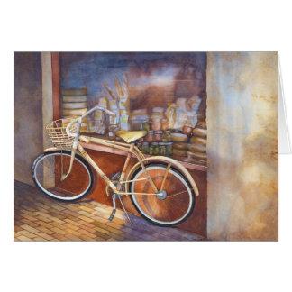 Bike at Deli Shop Birthday Card
