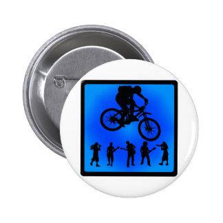 Bike Blue Grassy Pinback Button