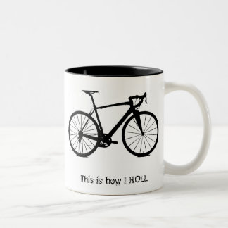 Bike bw , This is how I ROLL Two-Tone Coffee Mug