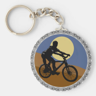 Bike Cyclist Design Basic Round Button Key Ring