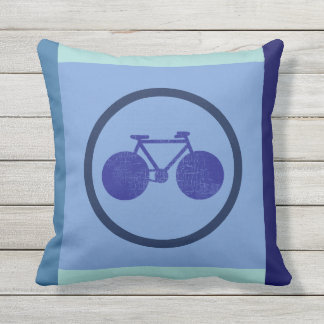 bike-inspired design of bicycle on geometric blue outdoor cushion