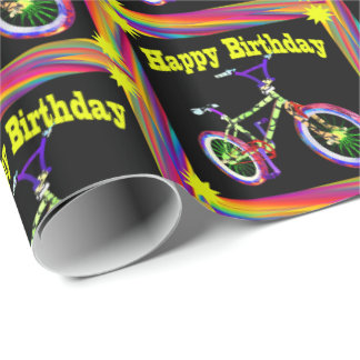 Bike Neon Colors Happy Birthday Wrapping Paper