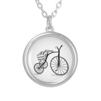 Bike on 3 wheels silver plated necklace