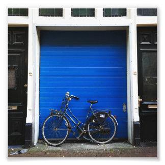 Bike on Blue Door Photographic Print