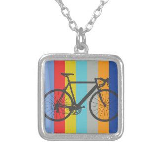 Bike Striped Multi-Color Rainbow Square Pendant Necklace