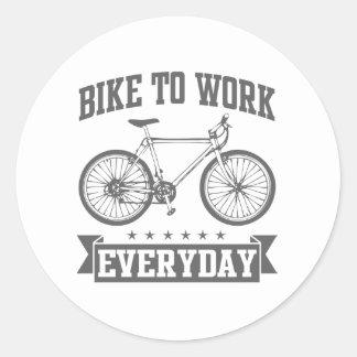 Bike To Work Everyday Classic Round Sticker