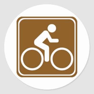 Bike Trail Highway Sign Classic Round Sticker