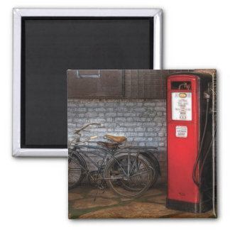 Bike - Two Bikes and a Gas Pump Square Magnet