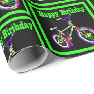 Bike With Neon Green Colors Happy Birthday Wrapping Paper
