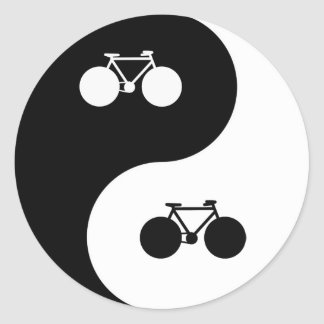 bike yin yang symbol classic round sticker