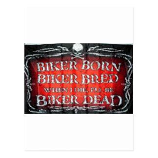 biker born biker bread postcard