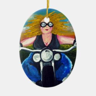 Biker Chick Diva Fun Folk Art Harley Whimsical Ceramic Ornament