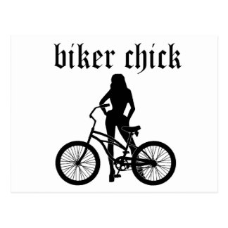 """Biker chick"" female silhouette with bicycle! Postcard"