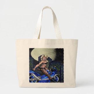 Biker Chick - Jumbo Tote Canvas Bags