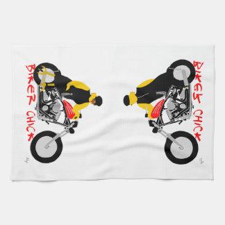 BIKER CHICK leaning against her Harley Davidson Tea Towel
