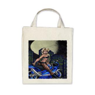 Biker Chick - Organic Grocery Tote Bag