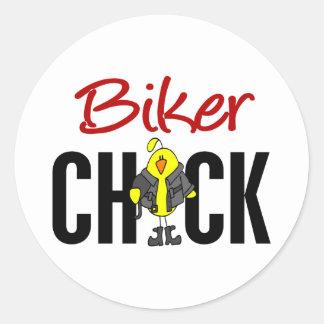 Biker Chick Round Sticker