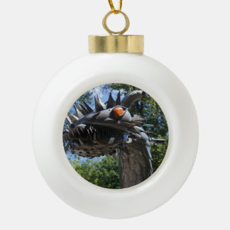 Biker Dragon Ceramic Ball Christmas Ornament