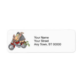 biker hog pig motorcycle bike cartoon return address label