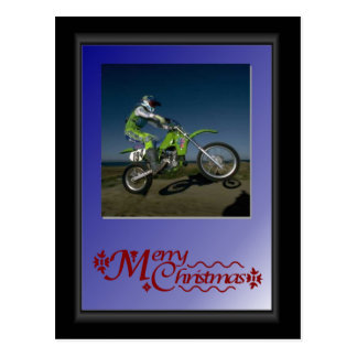 Biker in green postcard