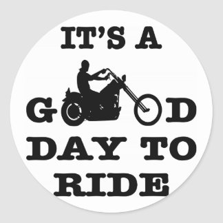 Biker It's A Good Day To Ride Classic Round Sticker