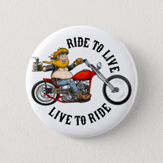 biker motorcyclist wrinkles to live 6 cm round badge