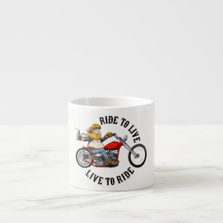 biker motorcyclist wrinkles to live espresso cup