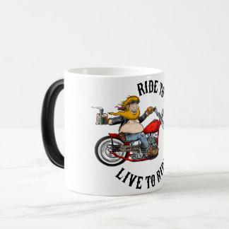Biker motorcyclist wrinkles to live magic mug