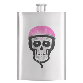 Biker or Cyclist Sugar Skull Hip Flask